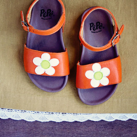 Pèpè Girls Orange Sandal With White Flower
