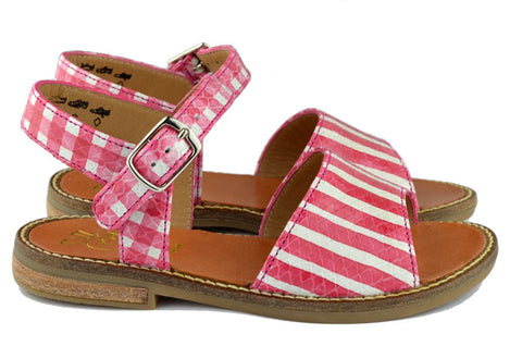 Pom d'Api Girls Red Stripe Sandal