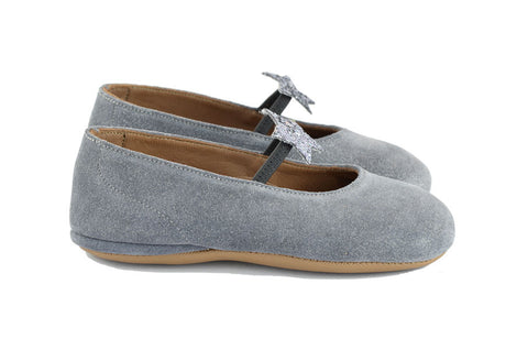 Pèpè Girls Grey Shimmer Suede Indoor Shoe with Silver Glitter Star