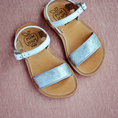Pom d'Api Girls White and Silver Glitter Sandal