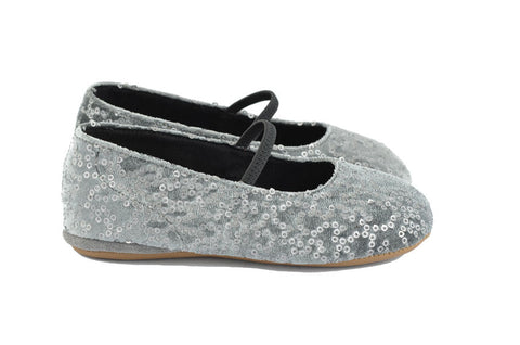 Pèpè Girls Grey Velvet & Silver Sequined Indoor Shoe