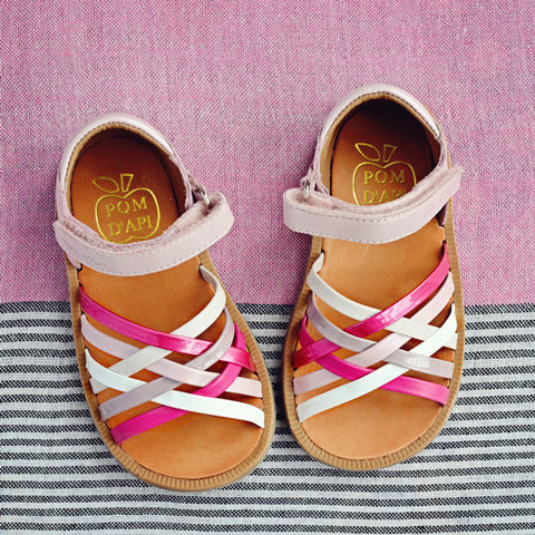 Pom d'Api Girls Pink Cross Strap Sandal