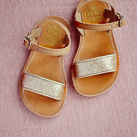 Pom d'Api Girls Tan and Gold Glitter Sandal