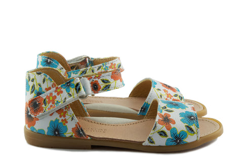 Two Con Me by PèPè Girls White Sandal with Flowers