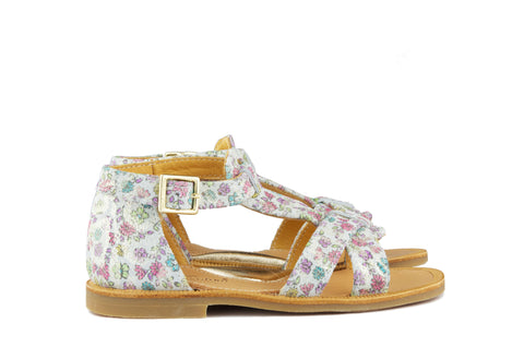 Zecchino Girls White Sandal with Flowers