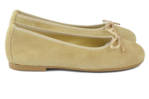 Clarys Girls Gold Suede Ballerina