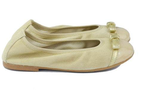 Clarys Girls Camel Suede Ballerina with Gold Bow