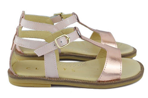 Clarys Girls Blush Pink & Bright Magnesium Sandal