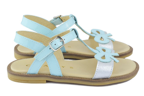 Clarys Girls Light Blue & Silver Bow Sandal