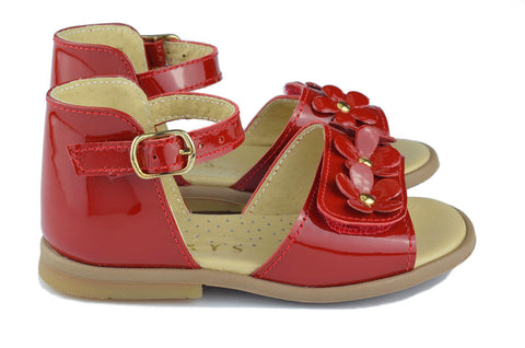 Clarys Girls Red Flower Sandal
