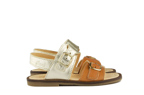 Ocra Girls Gold and Tan Sandal