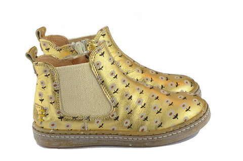 Ocra Girls Gold Boot with Cream Flowers