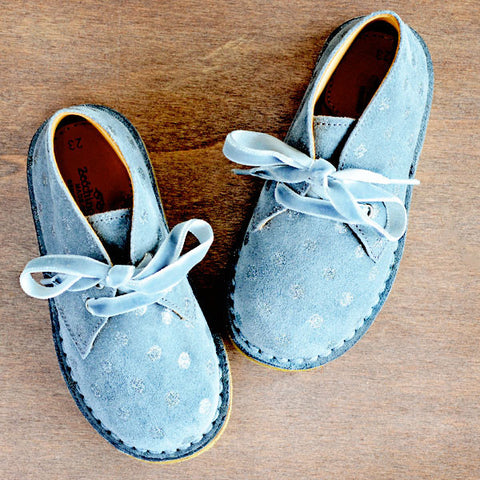 Zecchino Girls Grey Desert Boot with Silver Polka Dots