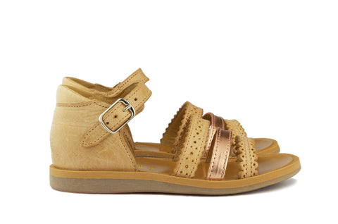 Pom d'Api Girls Honey and Rose Gold Sandal