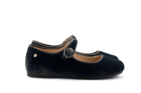 Manuela de Juan Girls Charcoal Grey Velvet Mary Jane