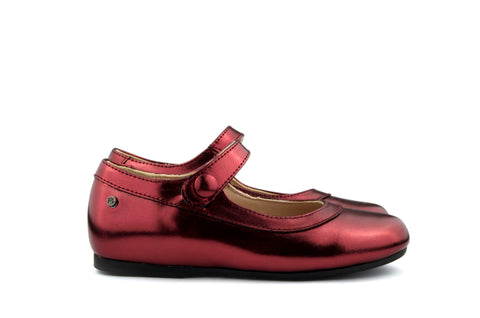 Manuela de Juan Girls Bordeaux Metallic Mary Jane