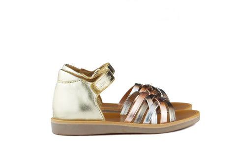 Pom d'Api Girls Gold Sandal with Metallic Straps