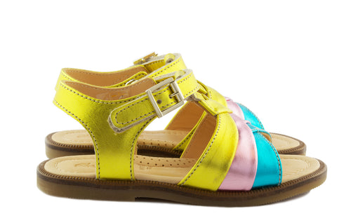 Ocra Girls Yellow Pink Blue Metallic Sandal