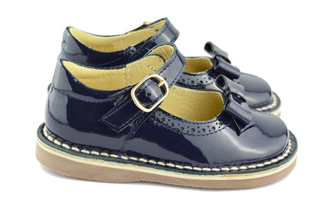 Clarys Girls Navy Patent Mary Jane with Bow