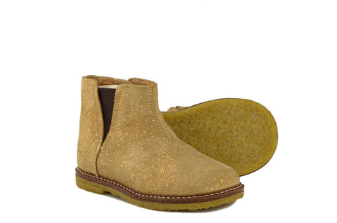 Pom d'Api Girls Nougat Gold Suede Chelsea Boot