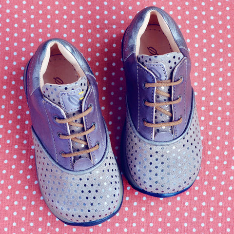 Ocra Girls Taupe Metallic Spotty Trainer