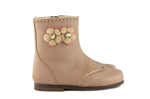 Beberlis Girls Pink Boot with Flowers