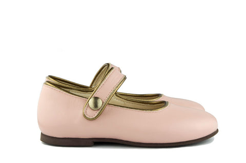 Manuela de Juan Girls Old Pink Mary Jane with Bronze Piping
