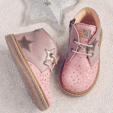 Ocra Girls Antique Pink Ankle Boot with Silver Stars