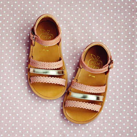 Pom d'Api Girls Rose and Gold Sandal