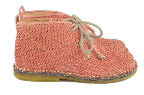 Ocra Girls Pink Braided Leather Desert Boot