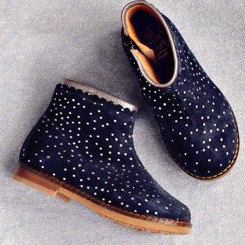 Pom d'Api Girls Navy Suede Ankle Boot with Polka Dots