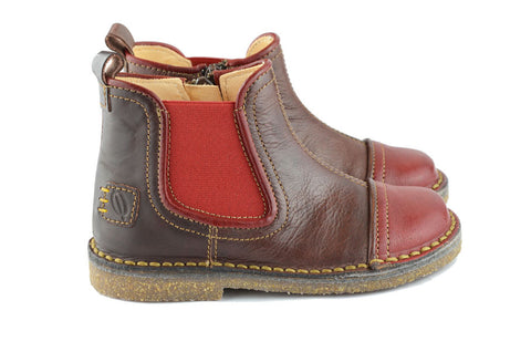 Ocra Boys Brown & Chilli Red Chelsea Boot