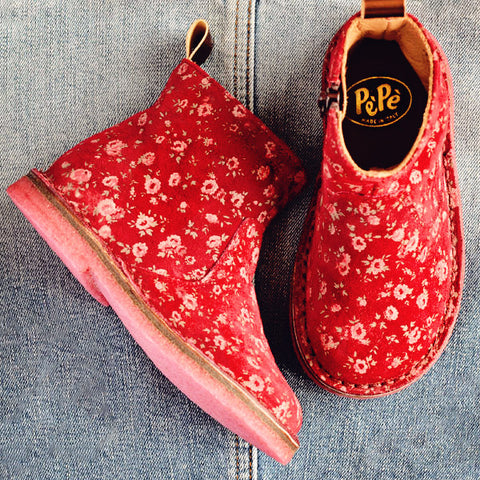 Pèpè Girls Red Suede Boot with Flowers