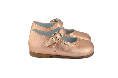 Eli1957 Girls Metallic Rose Gold Mary Jane