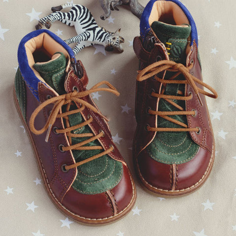 Ocra Boys Brown Green and Blue Leather Suede Boot