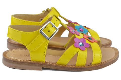Zecchino d'Oro Girls Yellow Flower Sandal