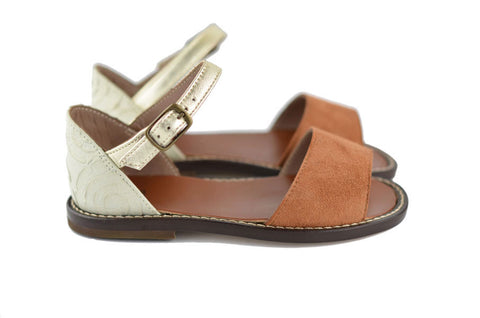 Pèpè Girls Brown and Gold Sandal