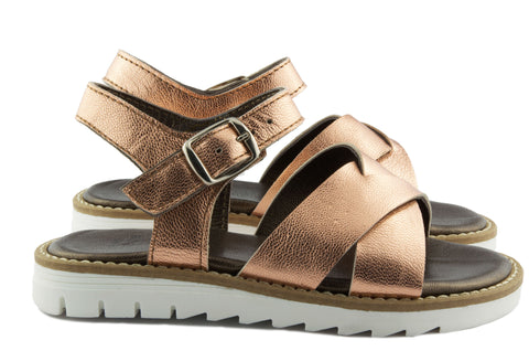 Two Con Me by PèPè Girls Metallic Rose Gold Sandal