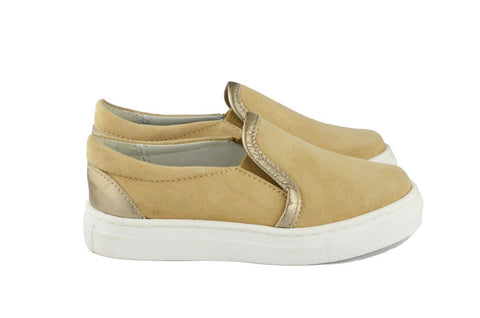 Eli1957 Girls Canvas Shoe with Bronze Piping