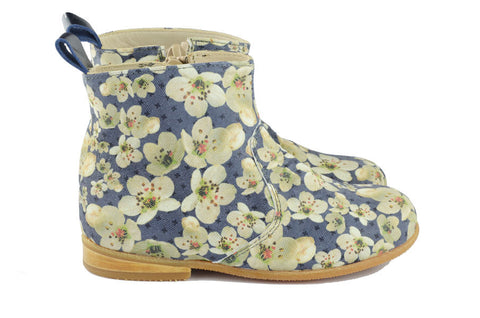 Pèpè Girls Blue Boot with Flowers