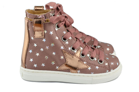 MAÁ Girls Pinky Brown Hightop with Metallic Silver Stars