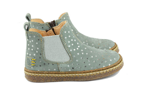 Ocra Girls Light Grey Suede Ankle Boot with Silver Stars