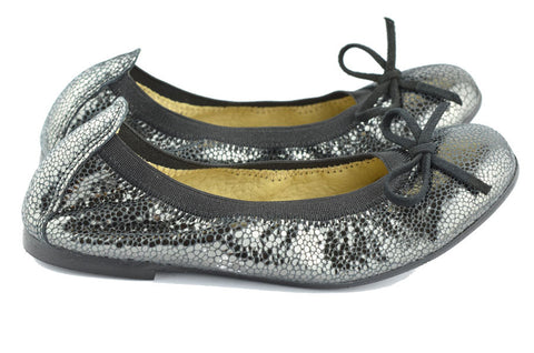 Clarys Girls Black Stretch Ballerina with Mottled Sparkly Silver