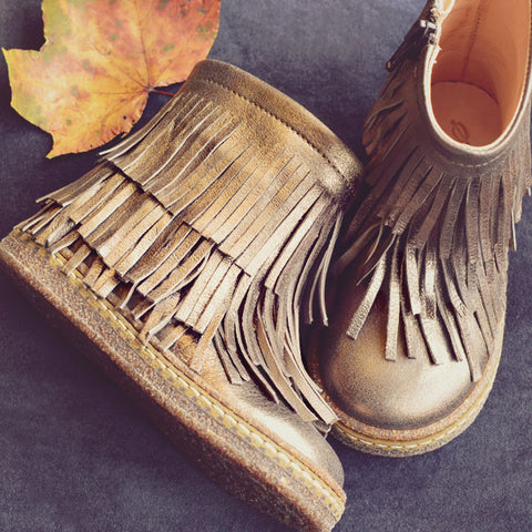 Ocra Girls Champagne Metallic Fringe Boot