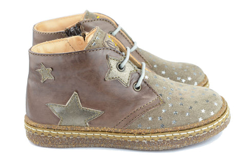 Ocra Girls Light Brown Suede Taupe Ankle Boot with Silver Stars