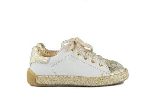 Ocra Girls White and Gold Trainer