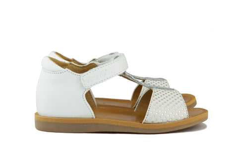 Pom d'Api Girls White and Silver Dot Sandal