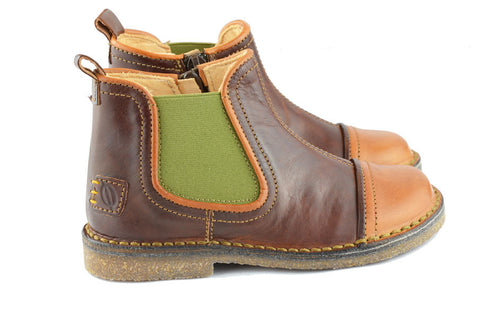Ocra Boys Brown & Yellow Chelsea Boot