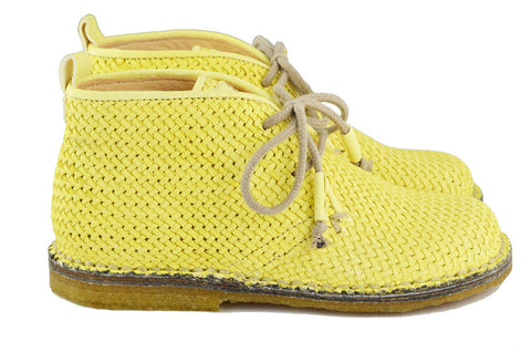 Ocra Girls Yellow Braided Leather Desert Boot