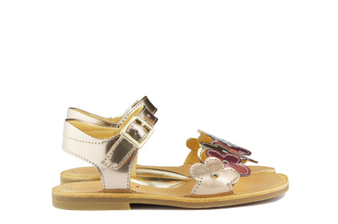 Zecchino Girls Gold and Lilac Flower Sandal